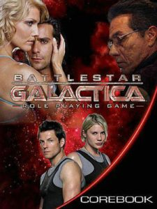 The cast of Battlestar Galactica appears on the cover of the role-playing game book.