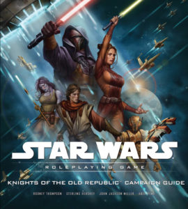 The heroes and villains of the KOTOR era stand against a blue-white background.