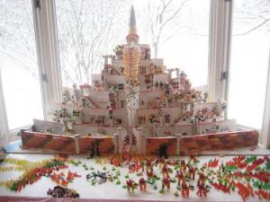 The fortified city of Minas Tirith stands in all its candy glory.