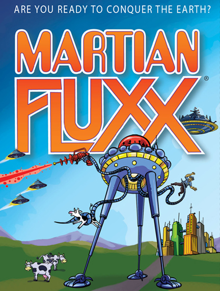 A cartoon-style Martian tripod with mechanical tentacles and laser beams goes on the attack.
