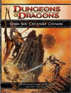 A dragon king climbs a stone tower on the cover of the Creature Catalog.