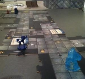 A blue elemental makes its way through an ad hoc dungeon.