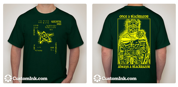 A male wearing a green t-shirt with yellow lettering. The front of the shirt has an elder sign (a type of star) and the back has an undead knight.
