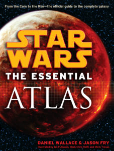 "The words ""Star Wars: The Essential Atlas"" appear over a fiery-red planet."