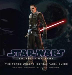 Starkiller stands against a black background, red lightsaber held hilt-first, the blade extending behind him.