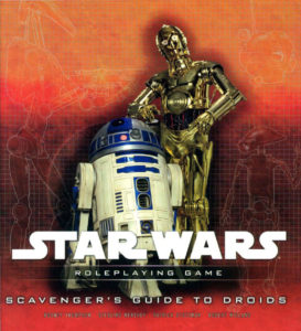 The iconic Star Wars droids R2D2 (a cylindrical blue-and-white droid) and C-3P0 (a golden humanoid droid) stand against a red-orange background.