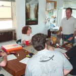 Gamers gathered around a table for a role-playing game.