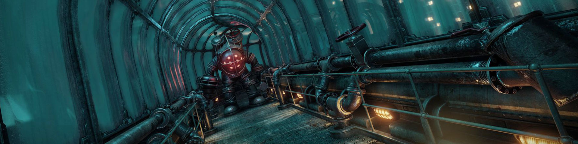 A monster that looks like a deep sea diving suit stands in a corridor. Beyond it, the ocean looms.