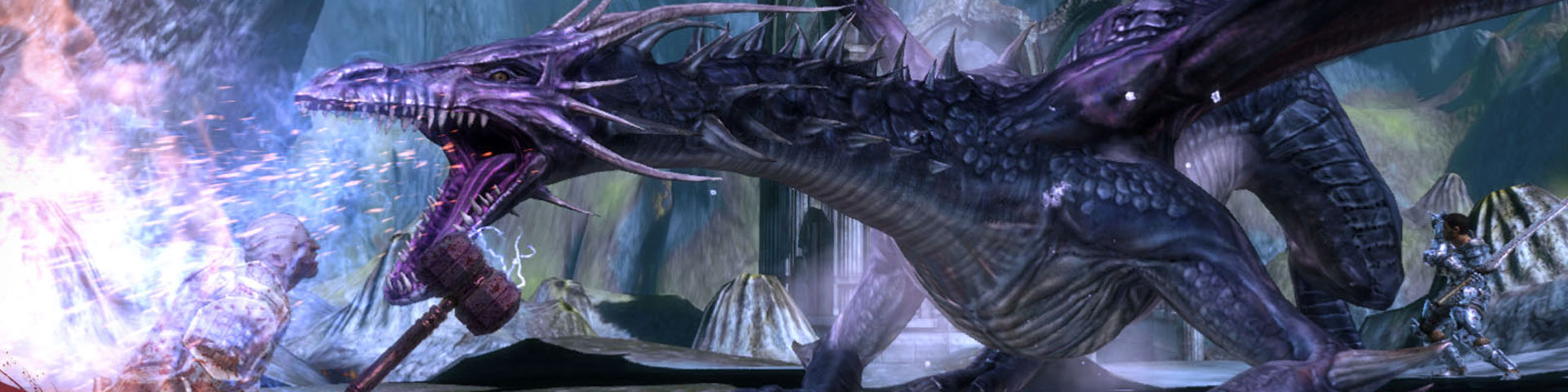 A purple-tinged dragon unleashes its breath weapon on a warrior.