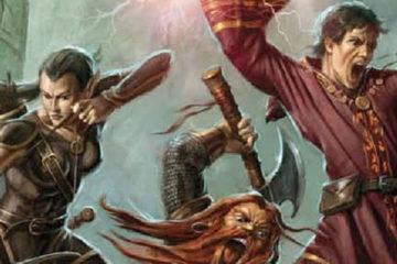 An elven archer, dwarven warrior, and human mage fight off dark spawn.