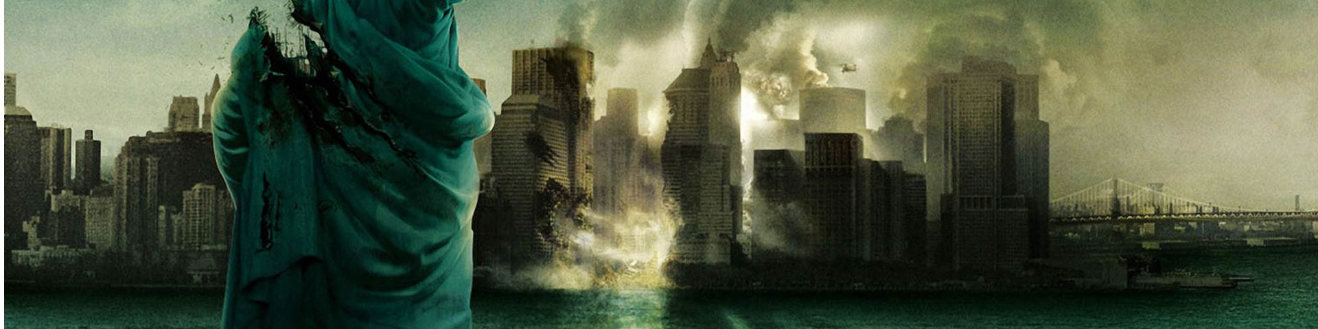 The ruined New York skyline after being crushed by a giant monster.