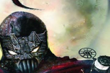 A masked villain holds a large gun.