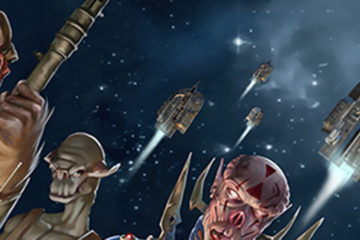 An assortment of aliens in the foreground; U-shaped spacecraft in the background.