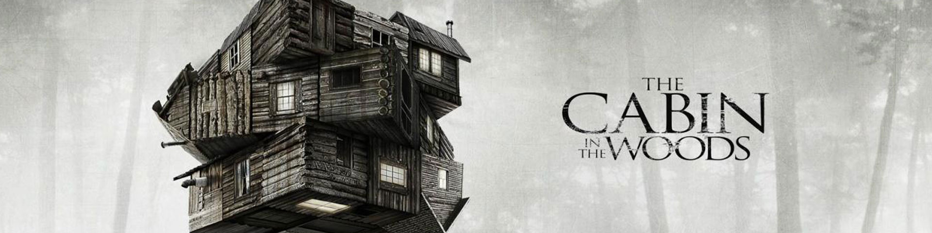 A creepy cabin is divided into thirds, then each third is slightly rotated.