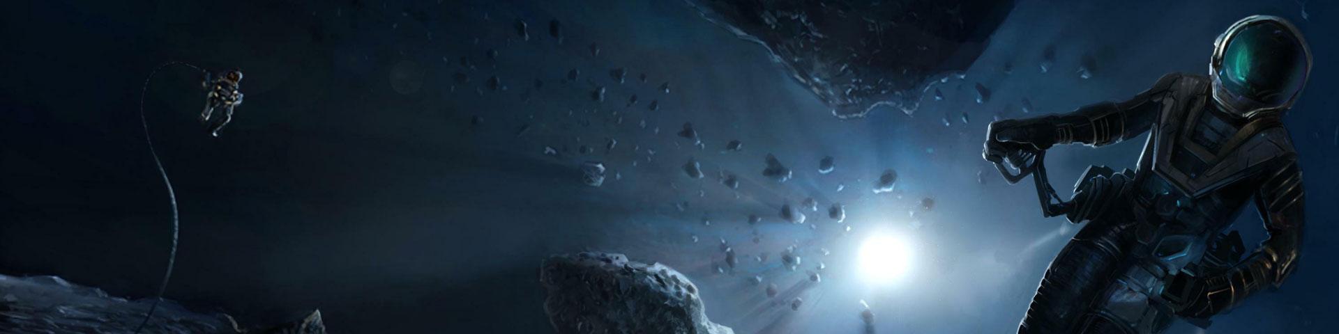 An slim-suited astronaut flies through an asteroid field. A blue-white sun shines in deep space.