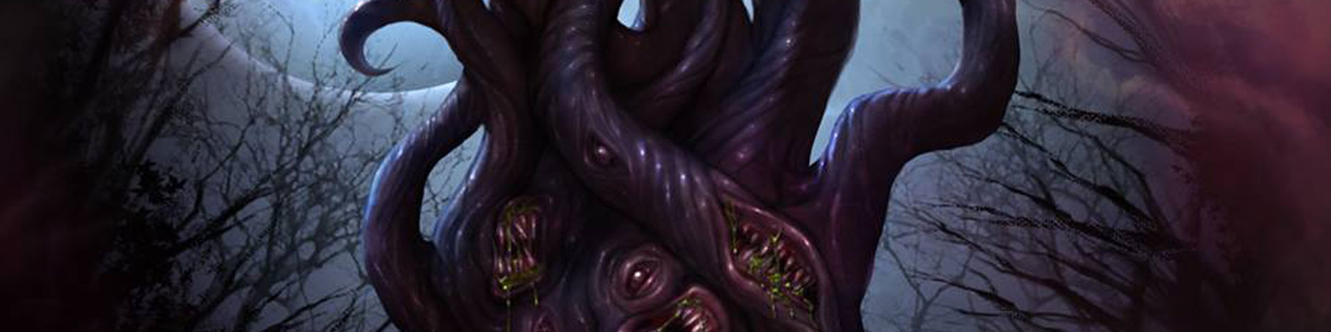 A tentacle horror stalks the woods on a moonlit night.
