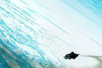 A starship, it's engines trailing smoke, descends toward a blue-white ring world
