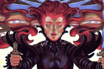 A close-up view of an Amberite from the Amber Diceless RPG cover.