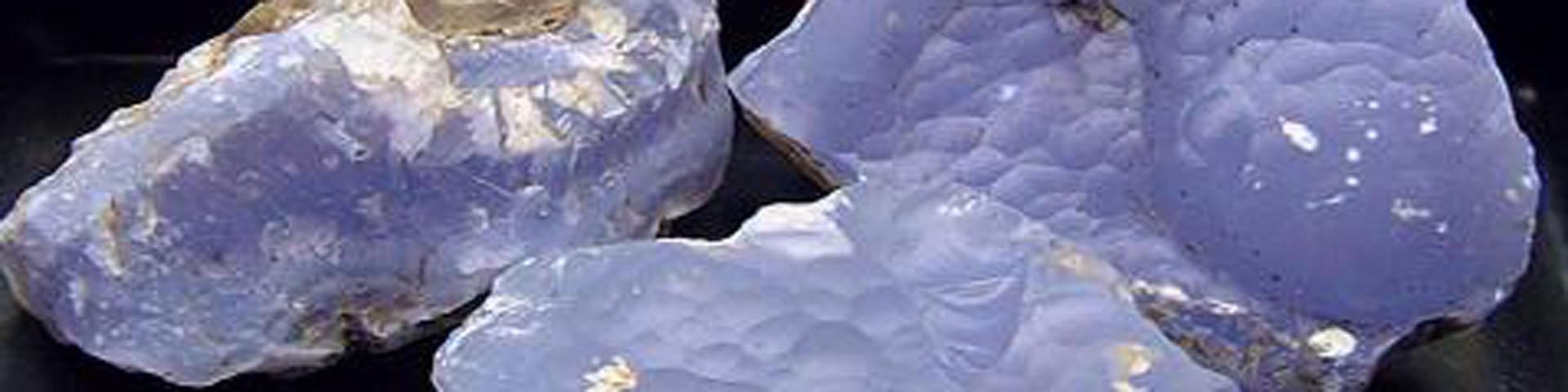 Several samples of blue-white stone