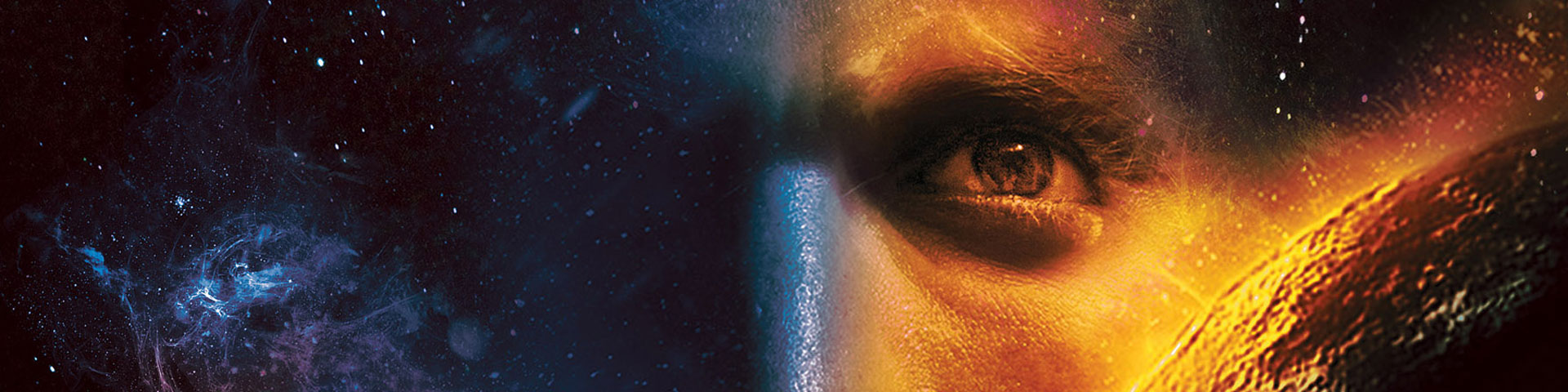 A mans face is superimposed over blue stars and a red/orange planet.