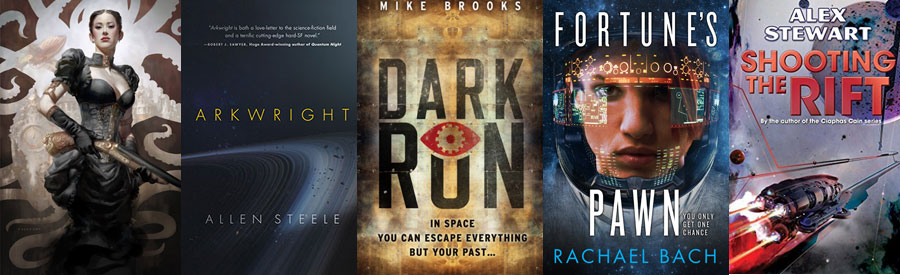 Several book covers from my summer 2016 reading list: Karen Memory, Arkwright, Dark Run, Fortune's Pawn, Shooting the Rift