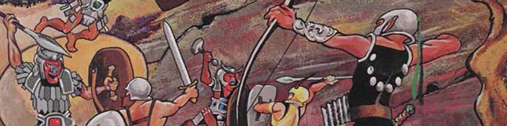 A close up view of adventurers fighting goblins.