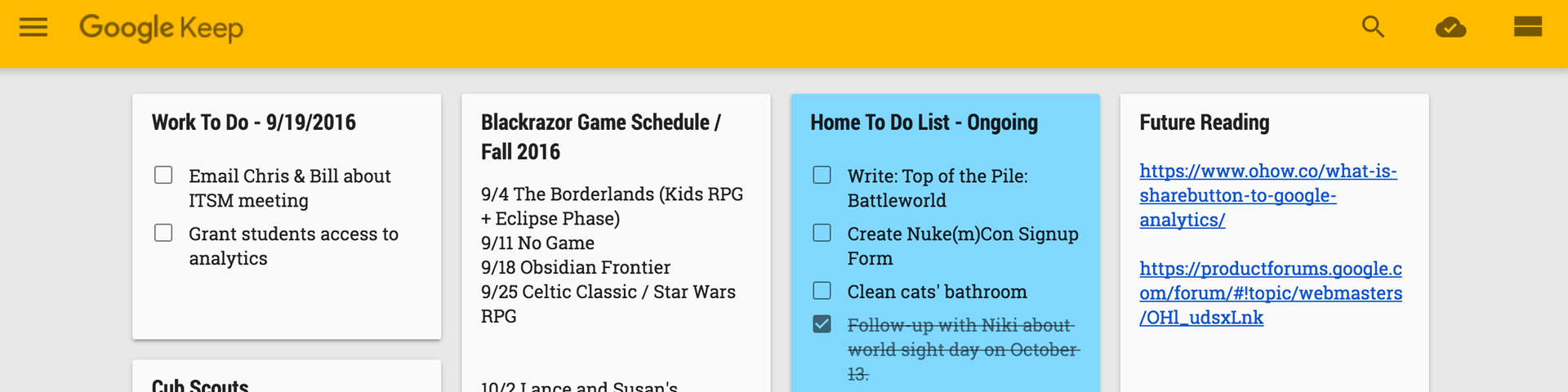 Sticky-note-like blocks of to do lists fill the screen.