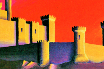A keep, with high walls and towers, stands against a vibrant red, yellow, and orange background.