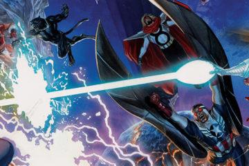 Myriad superheroes battle in space.