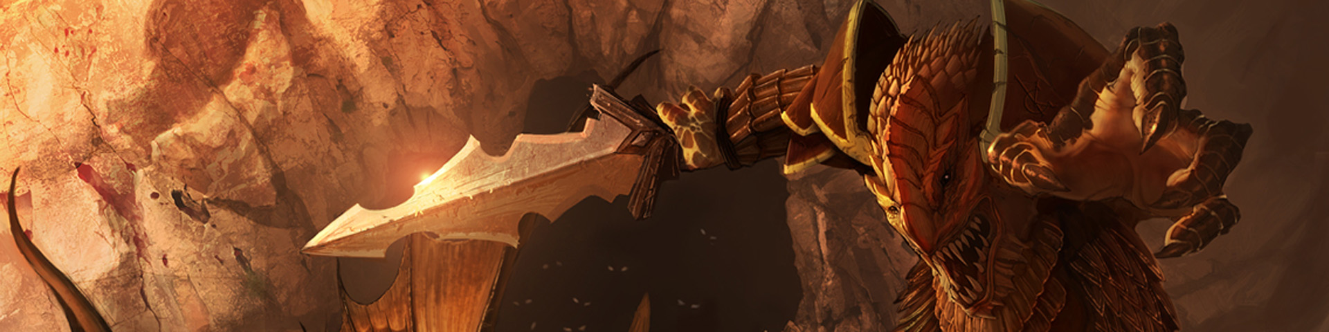 A red-scaled dragonborn charges toward the viewer.