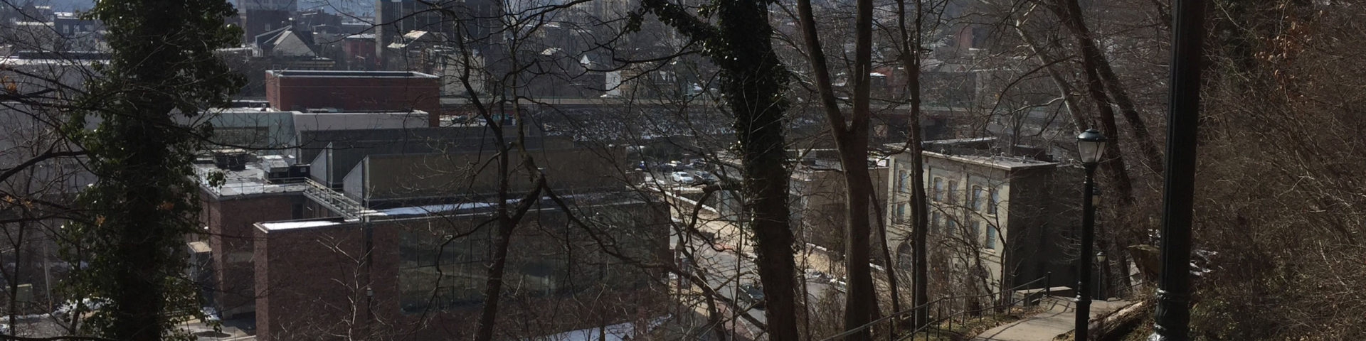 Bare trees and a concrete path overlook the city of Easton.