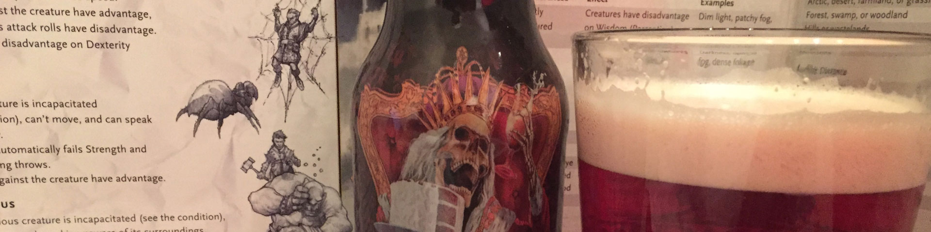 A close-up of a beer with an undead king sitting on a throne, with a glass of reddish beer near by in a pint glass.
