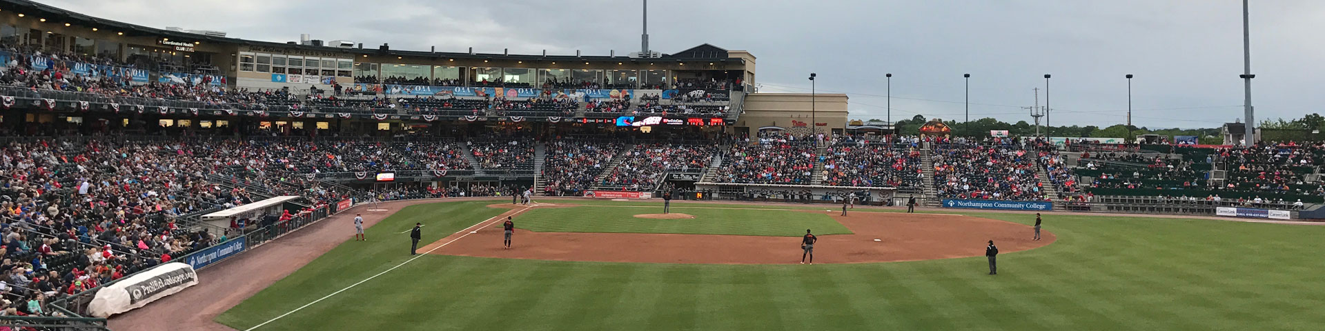 A view of a baseball game from right field.
