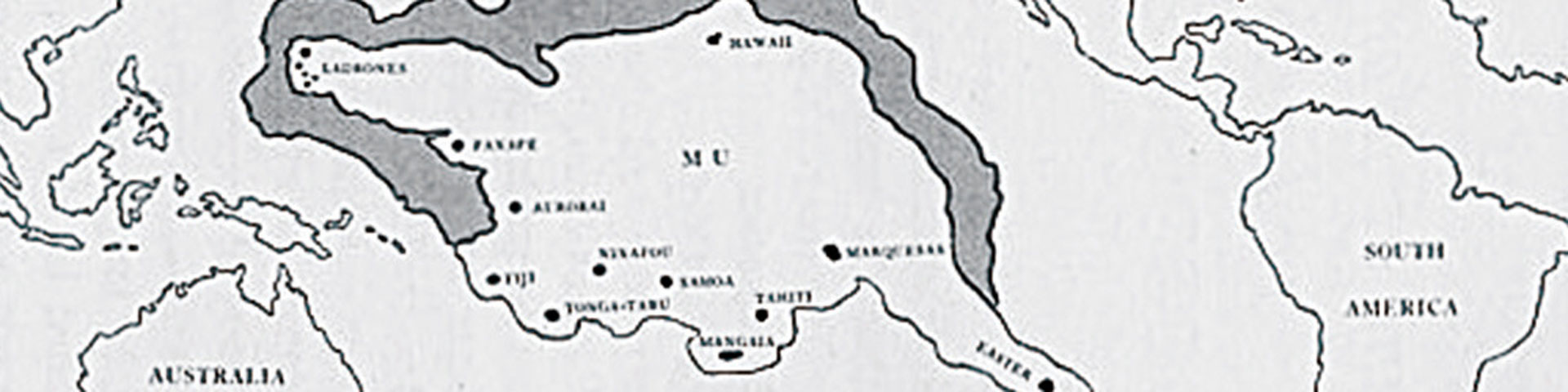 A map of the lost continent of Mu, indicating that it is in the Pacific Ocean.