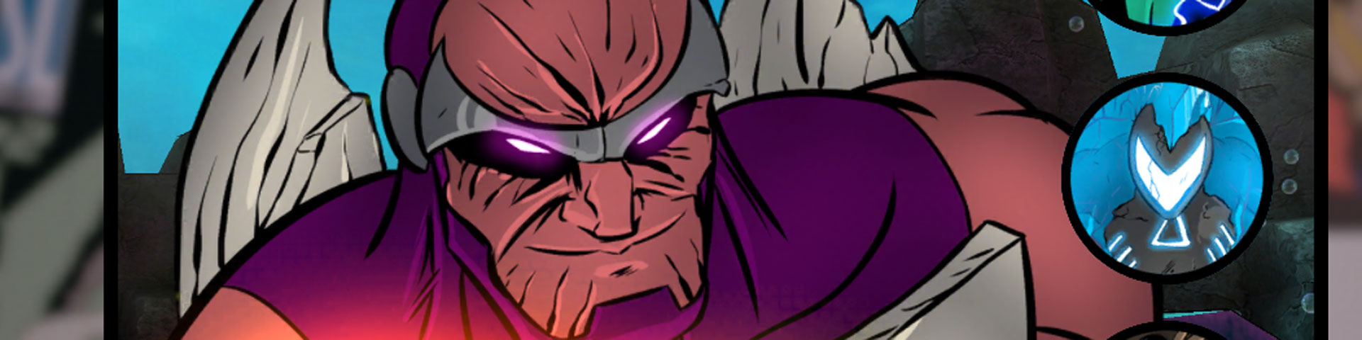 A screenshot from Sentinels, featuring a villain with glowing pink eyes grinning menacingly at the viewer.