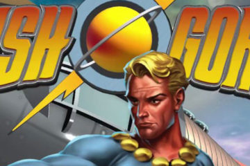 Pulp serial hero Flash Gordon stands ready for battle; the logo bearing his name appears behind him.