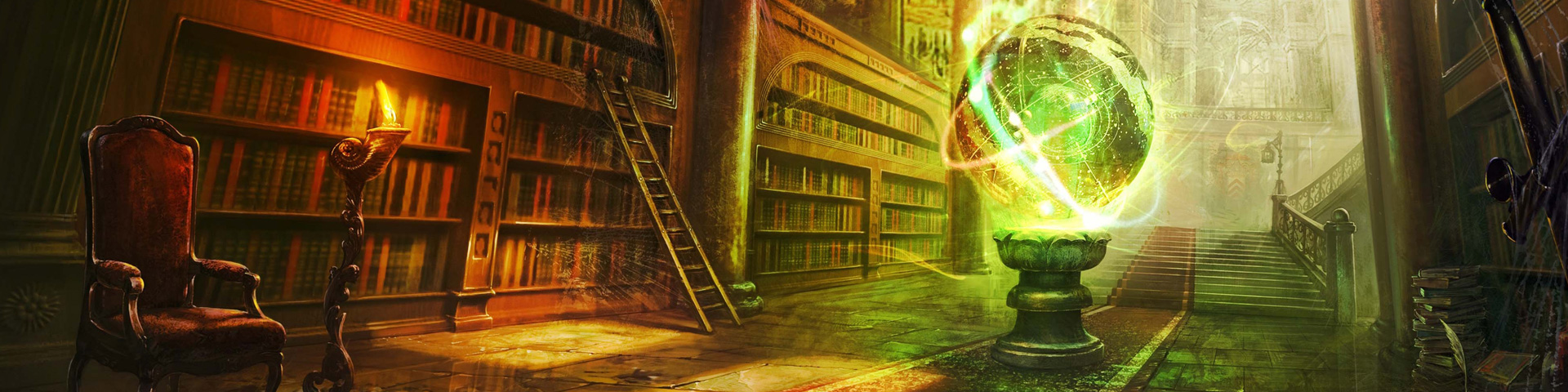 An arcane sphere illuminates stacks of books in a fantasy library.