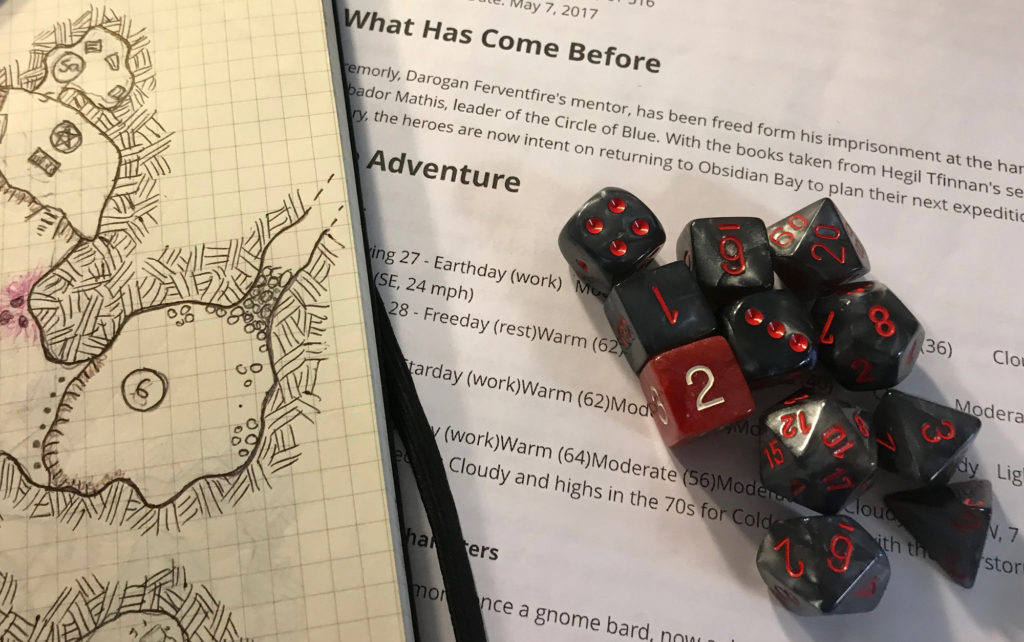 Black/gray dice with red lettering -- and a single red six sided die with white lettering -- lay onto of printed gaming notes. A map appears to the left.