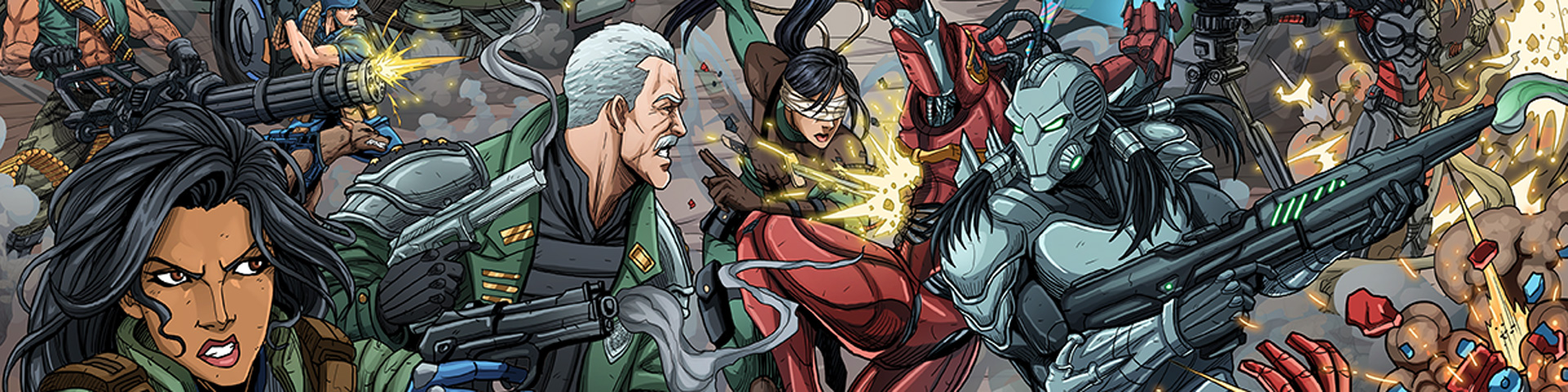 Heroes and villains fight on a chaotic, G.I. Joe-like battlefield.