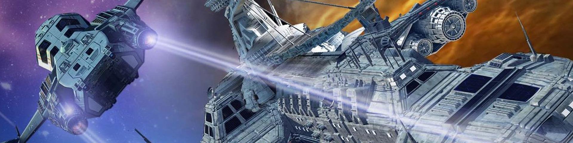 Starships battle in deep space.